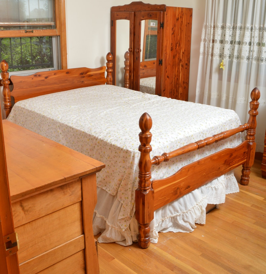 vintage cedar full bed frame