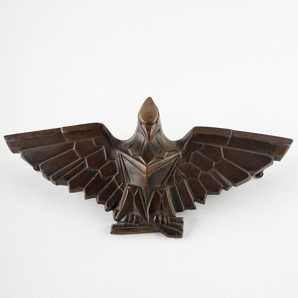 Art Deco Cast Bronze Figural Eagle Door Mount