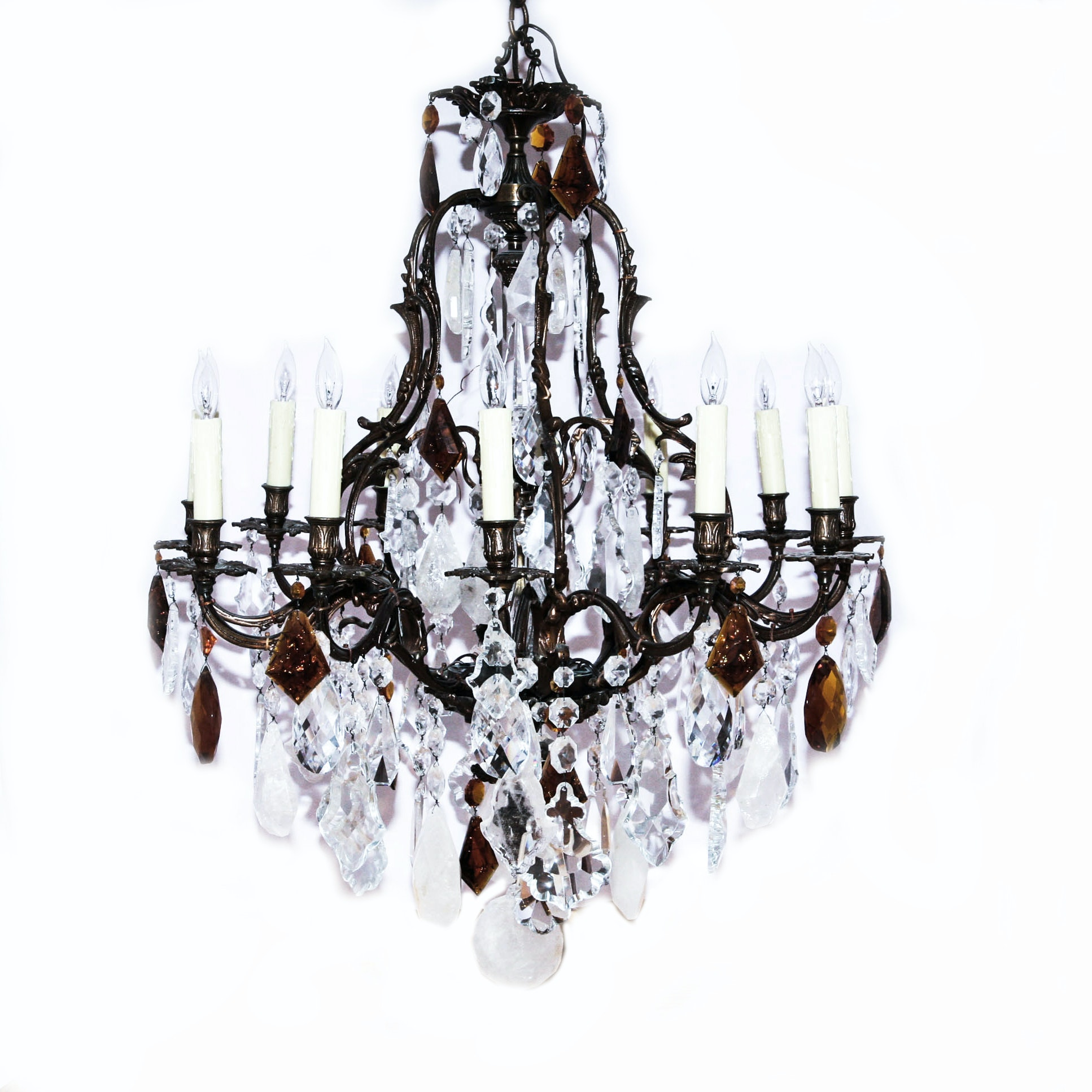 Crystal and Rock Crystal Chandelier