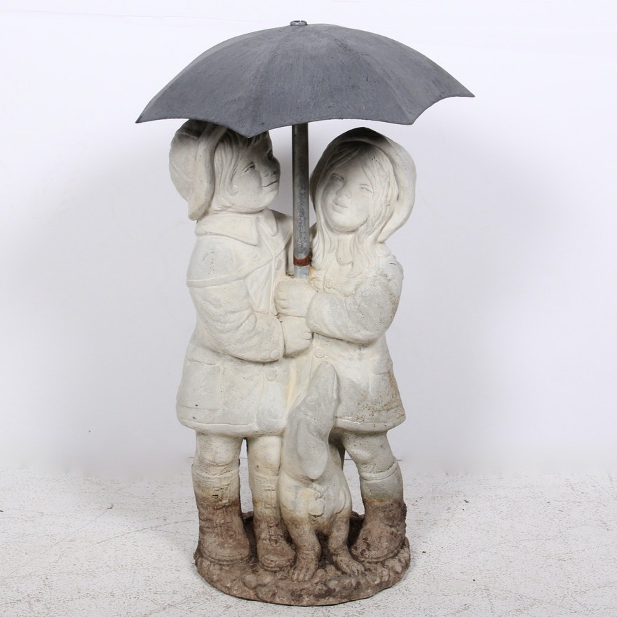 Concrete Garden Statue Of Two Children Under Umbrella Ebth