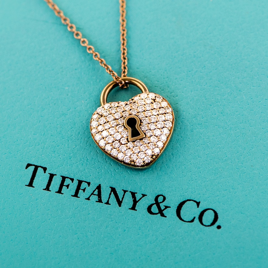 24a725c17 Tiffany & Co. 18K Rose Gold and Diamond Heart Lock Necklace : EBTH