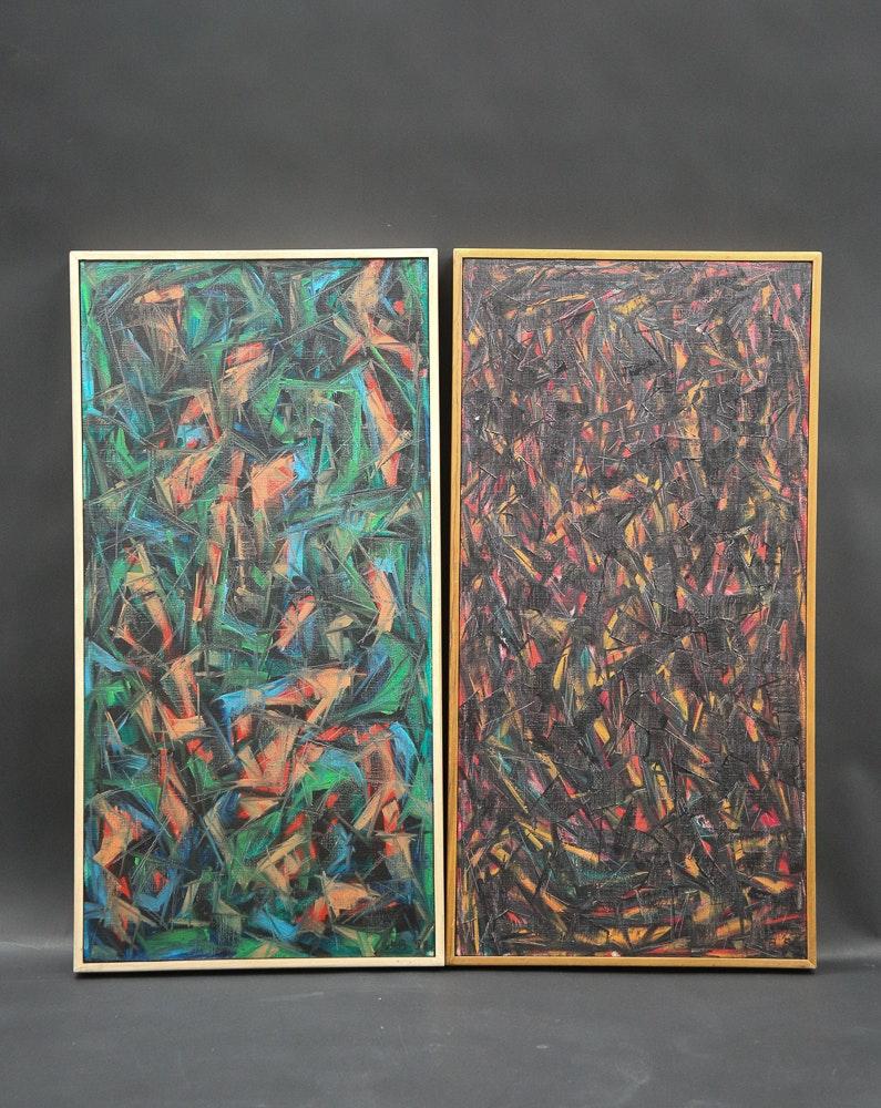 Karl Stanley Benjamin Pair of Original Abstract Oil Paintings