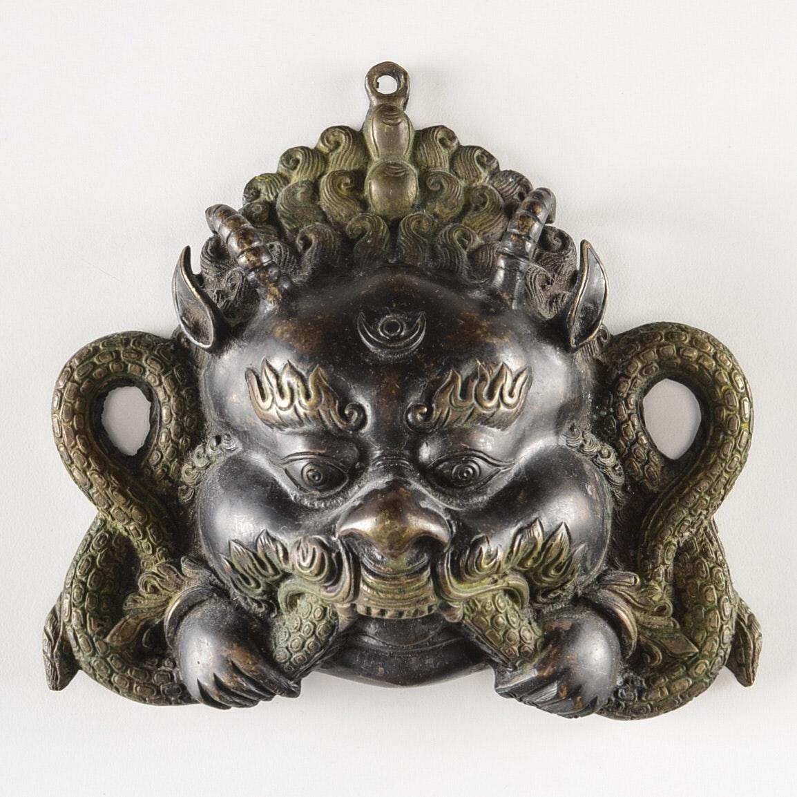 Vintage Brass Tibetan Buddhist Dragon Mask