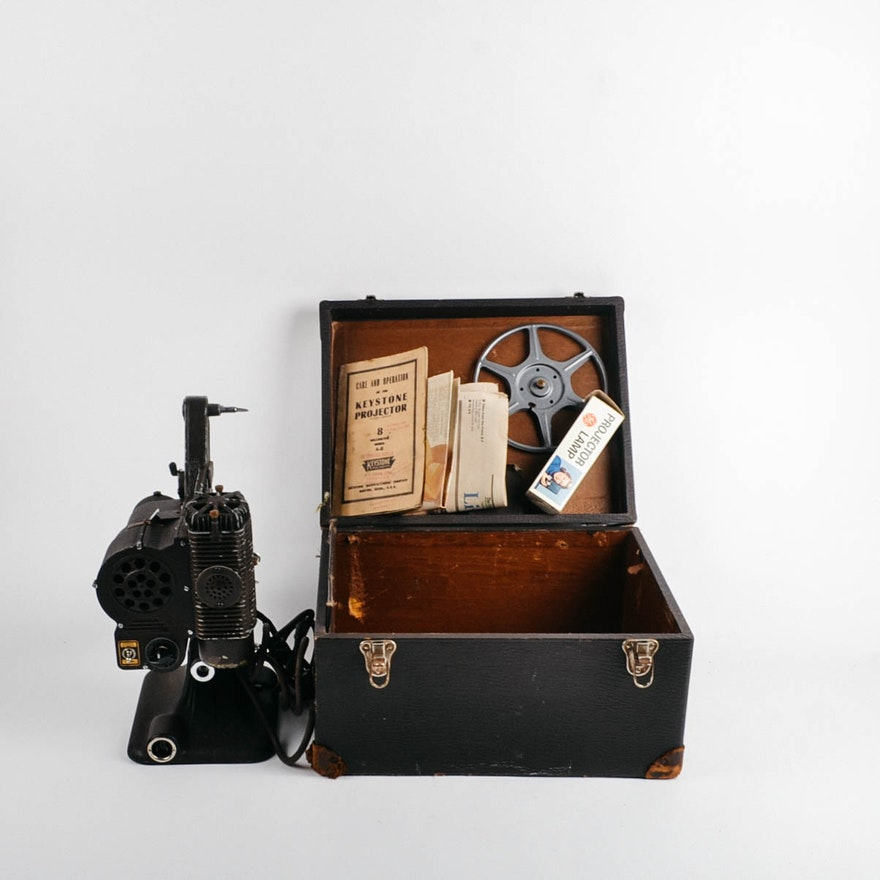 Vintage Keystone 8mm A-8 Projector in Case from 1950s