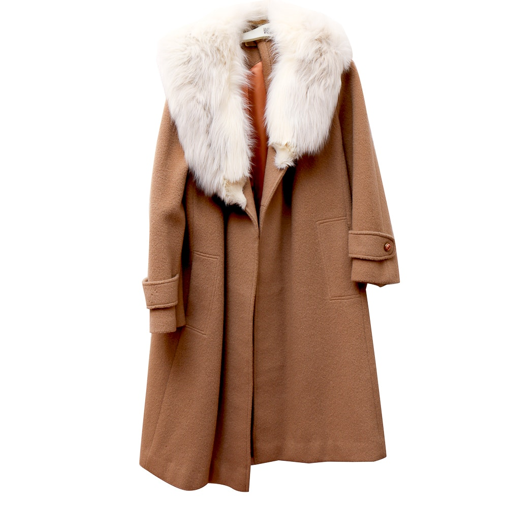 Camel Coat with Faux Fur Collar