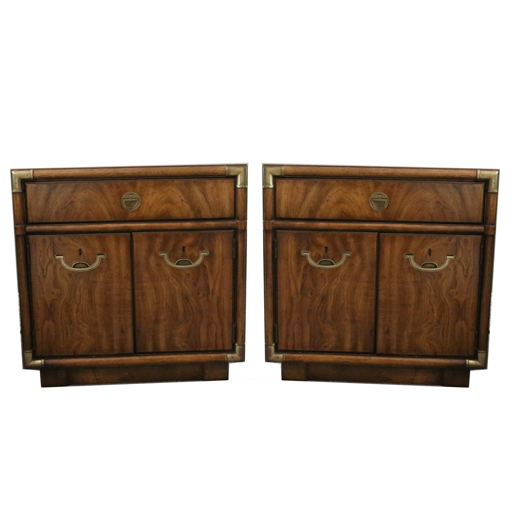 "Pair of Drexel ""Accolade"" Campain Style Nightstands"