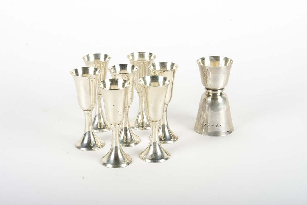 Sterling Silver Cordial Cups and Jigger