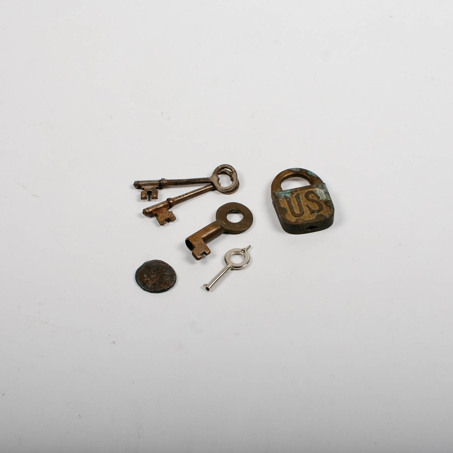 Antique World War 1 Wwi 1917 Us Army Padlock Brass Lock