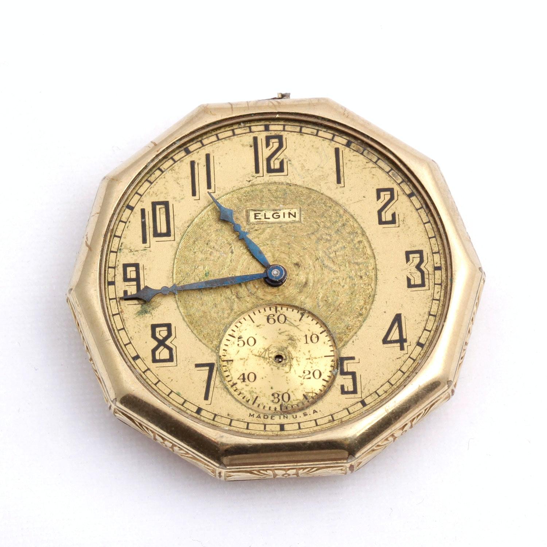 Vintage Elgin Pocket Watch Face in Gold Filled Frame