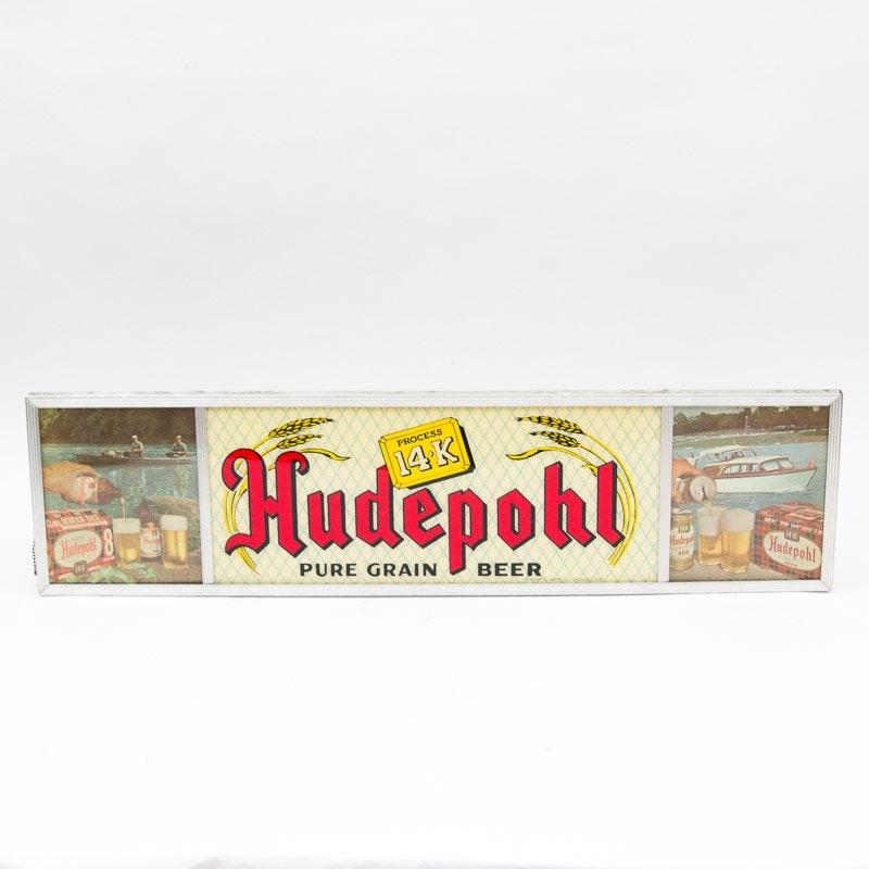 Vintage Light Up Hudepohl Beer Sign