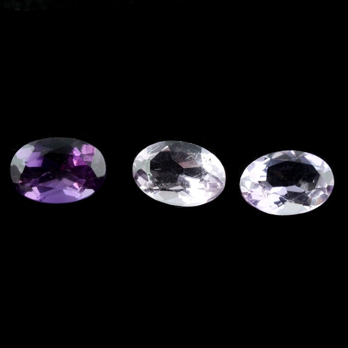 Three Loose 1.32 Carat Total Weight Amethyst Gemstones