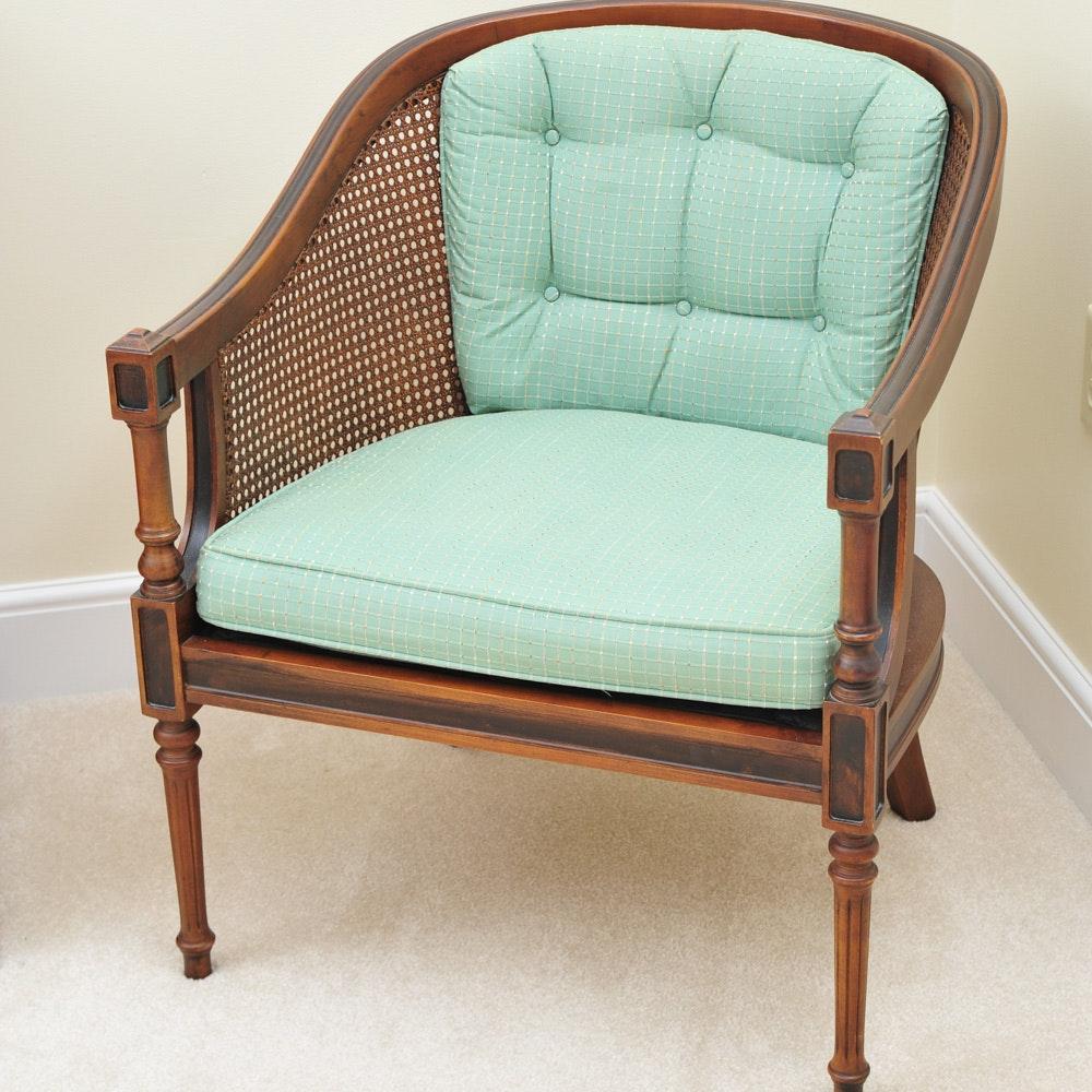 Vintage Classic Cane Back Barrel Chair ...
