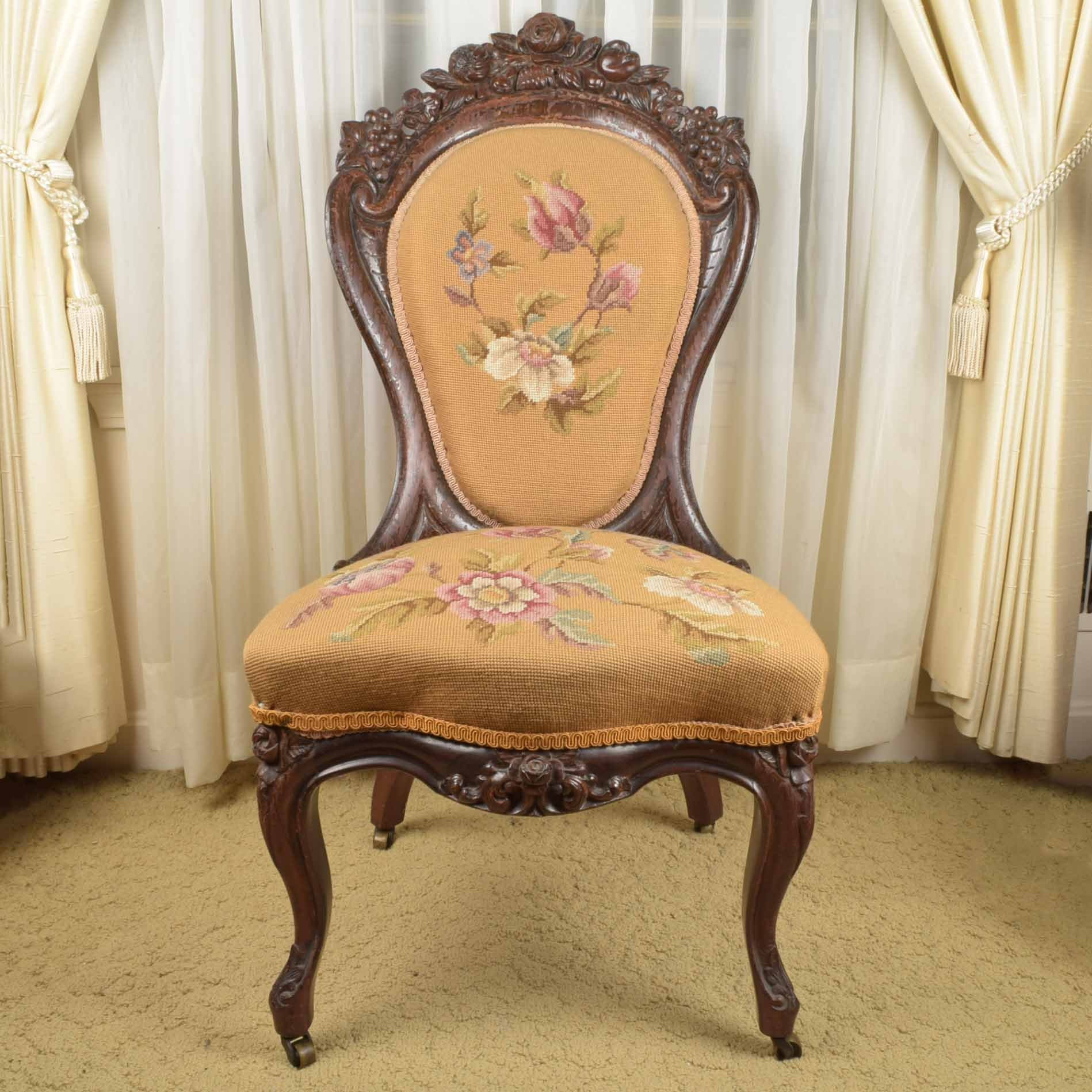 Victorian Rosewood Needlepoint Chair