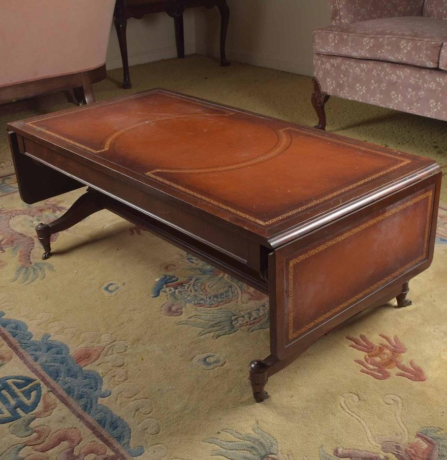 Vintage Leather Top Drop Leaf Coffee Table