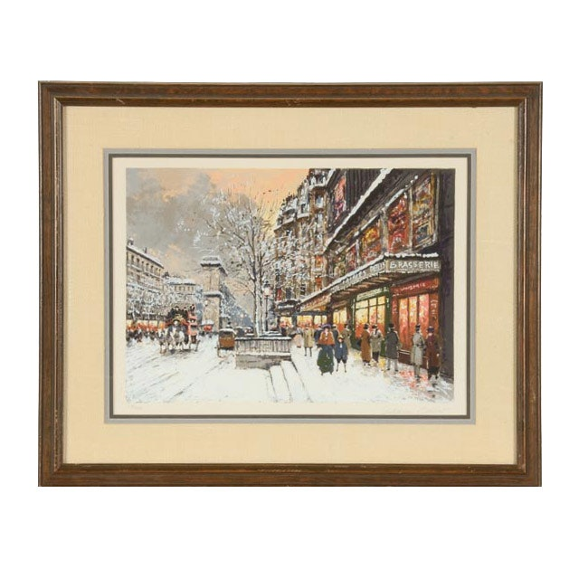 """Antoine Boulet Signed Limited Edition Serigraph """"Parisian Street Scene in Winter"""""""