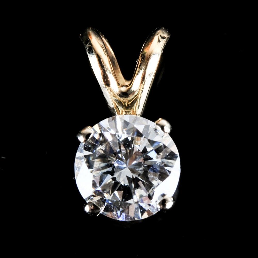 14K Yellow Gold 0.94 CTW Diamond Solitaire Pendant
