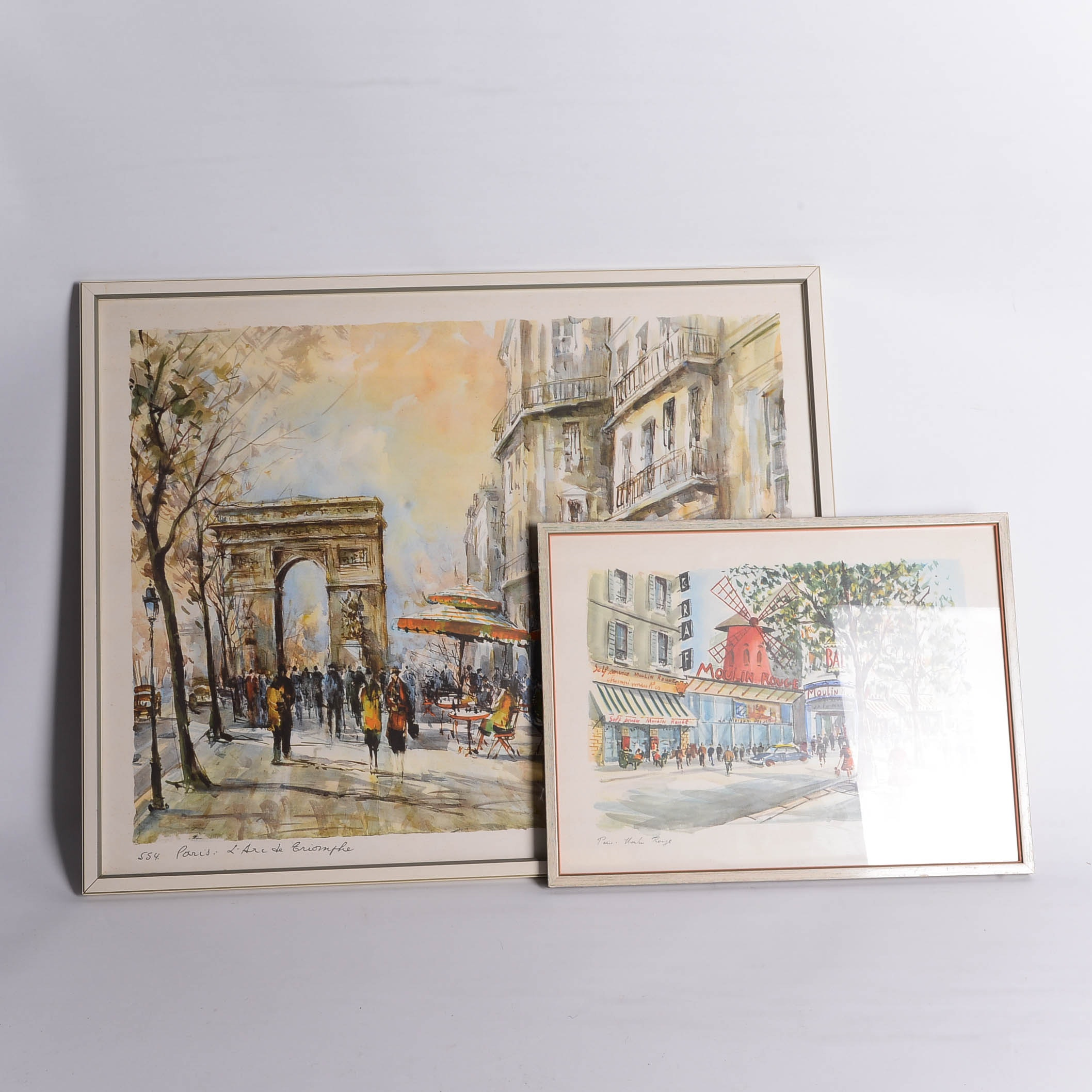 Vintage Offset Lithographs of Parisian City Streets
