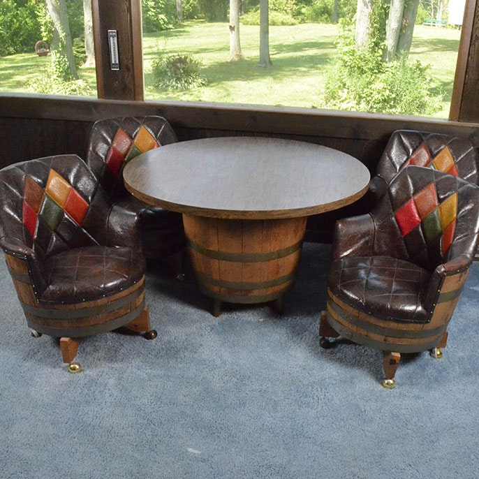 Vintage Oak Barrel Table With Barrel Chairs ...