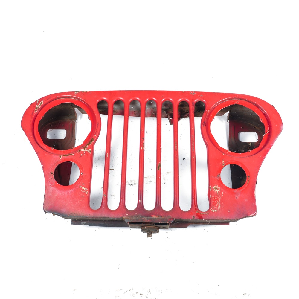 Red 1977 Jeep Grille
