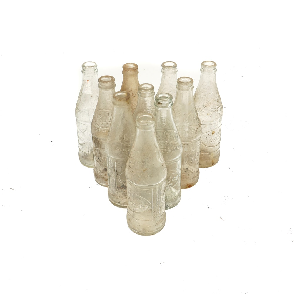 Set of Vintage Dr. Pepper Bottles