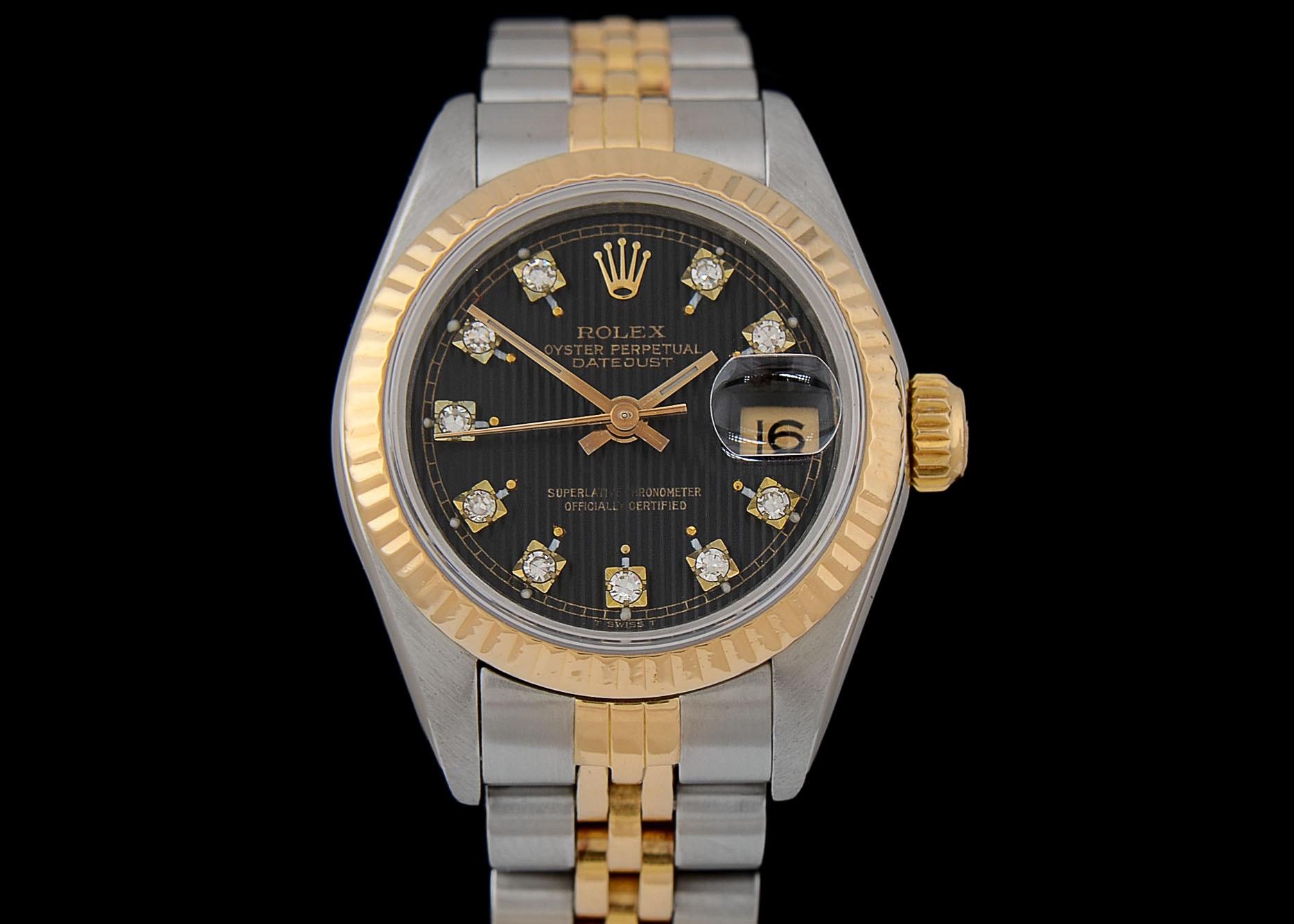 Women's Rolex Datejust 18K Yellow Gold & Steel Black Tapestry Diamond Dial Wristwatch