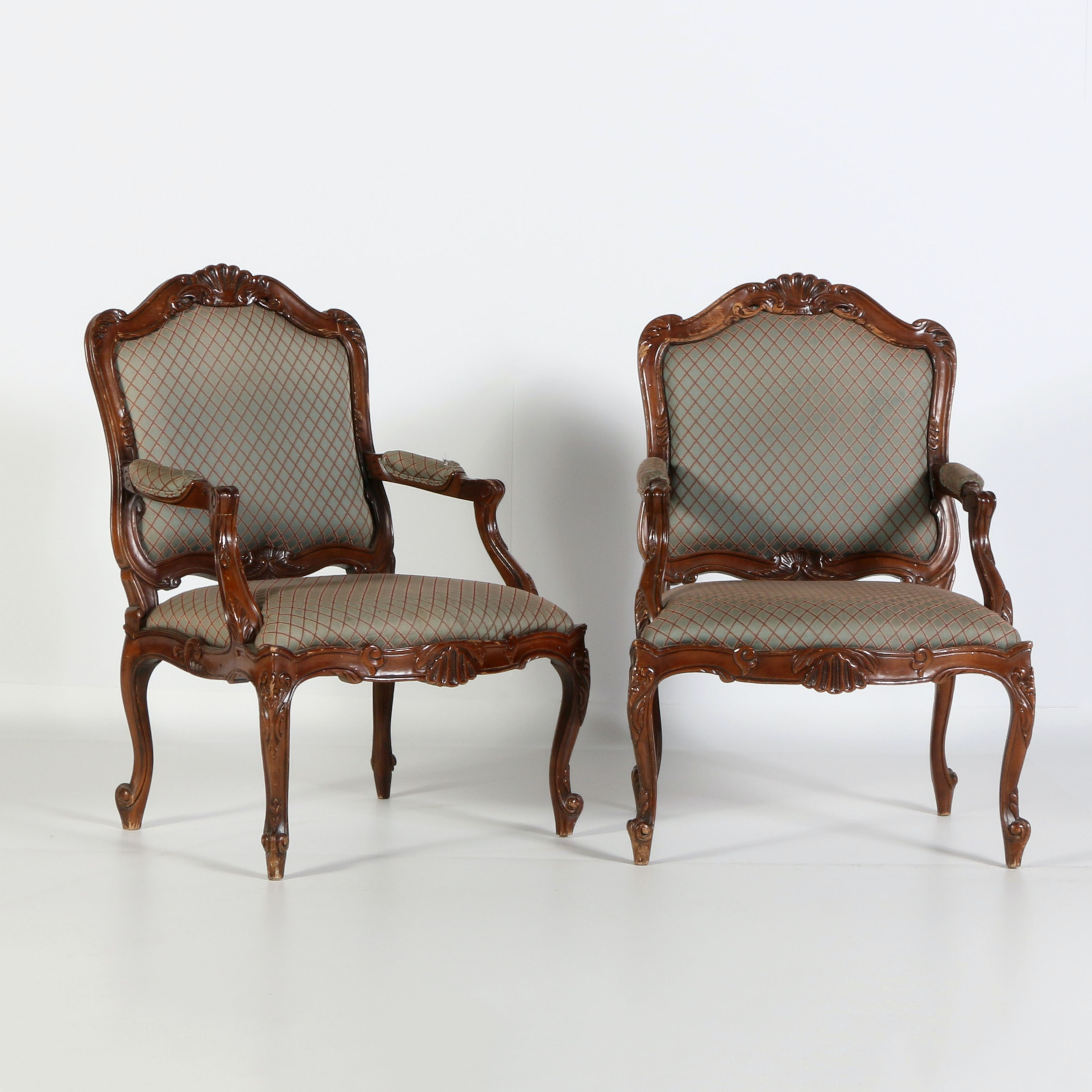pair of louis xvi style fauteuil armchairs ebth