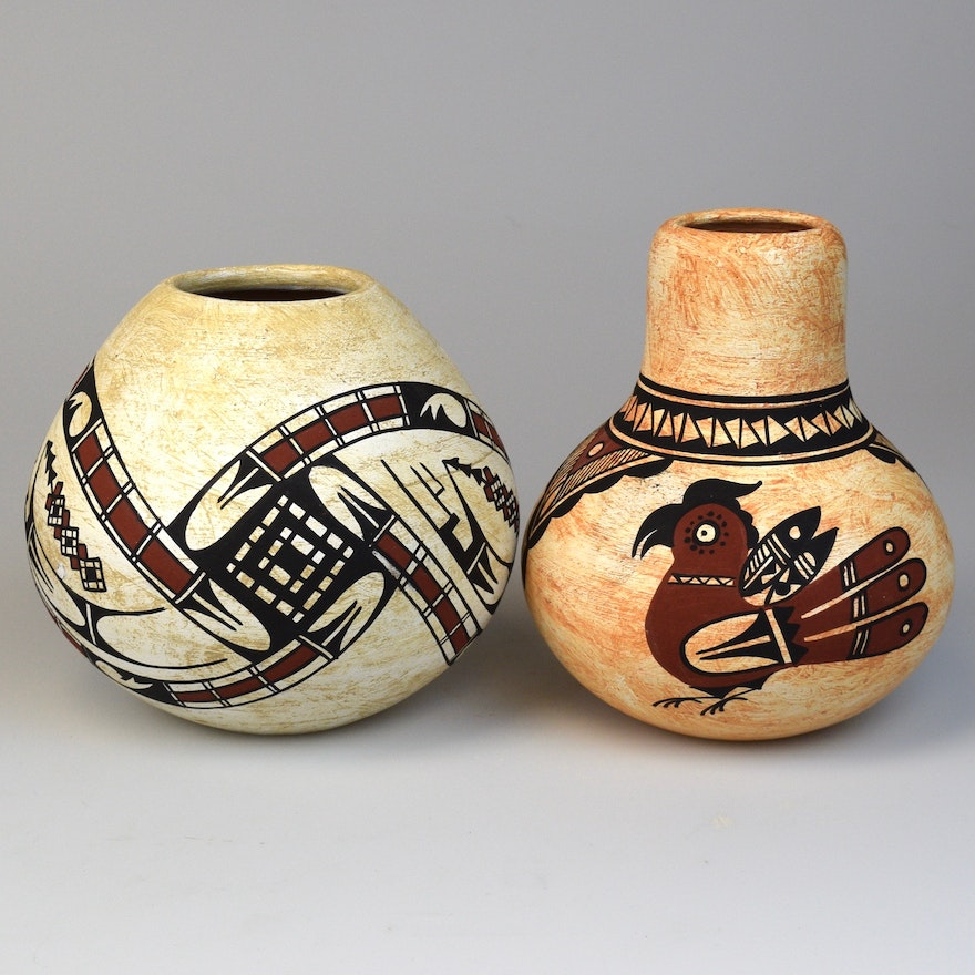 Pair Of Native American Pottery Vases Ebth