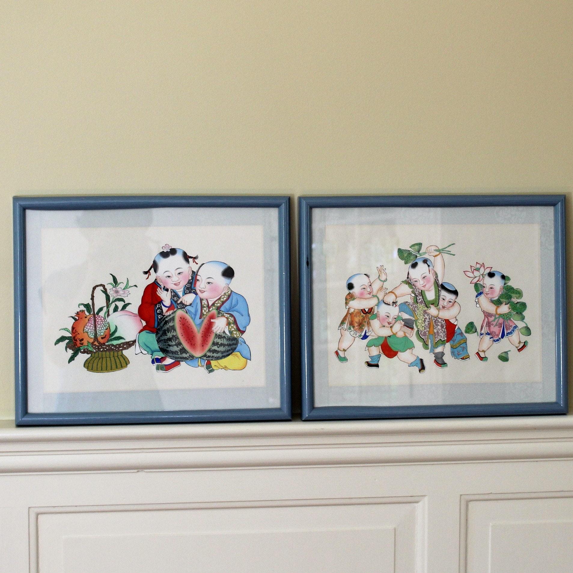 Original Nian Hua Chinese Prints Of Children Ebth