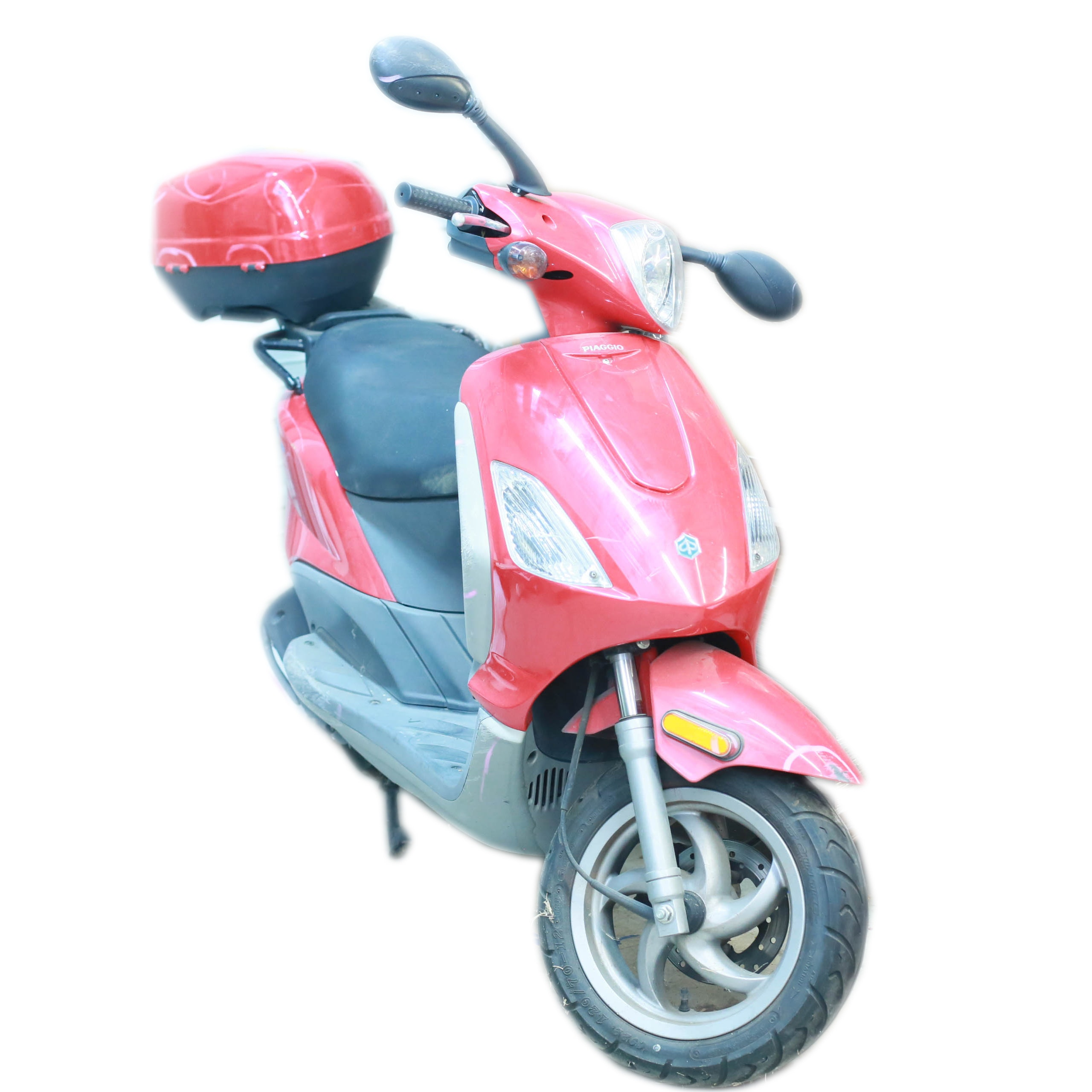 Red Piaggio Fly 50 Scooter with Two Helmets
