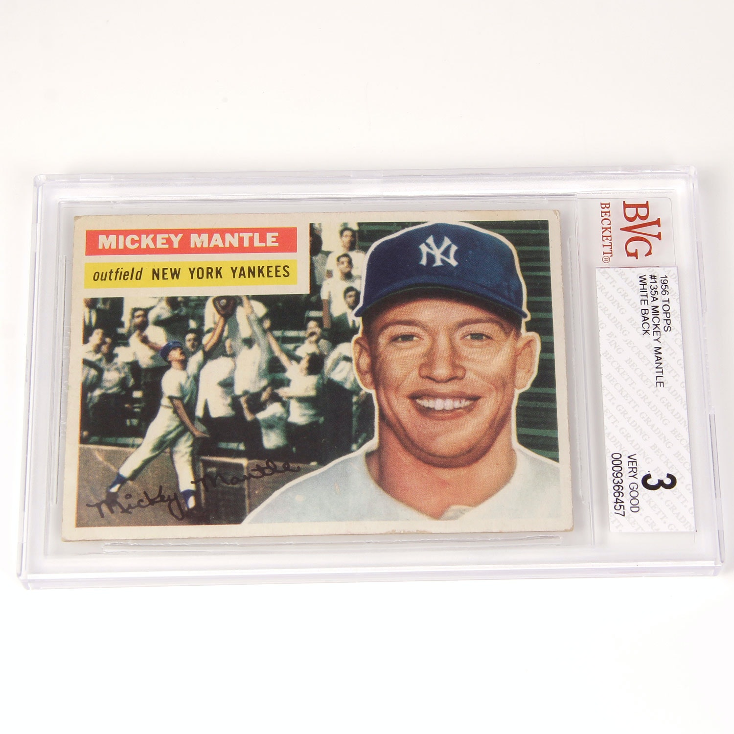 Hall of Famer Mickey Mantle Collectible Baseball Card - Beckett Graded 3