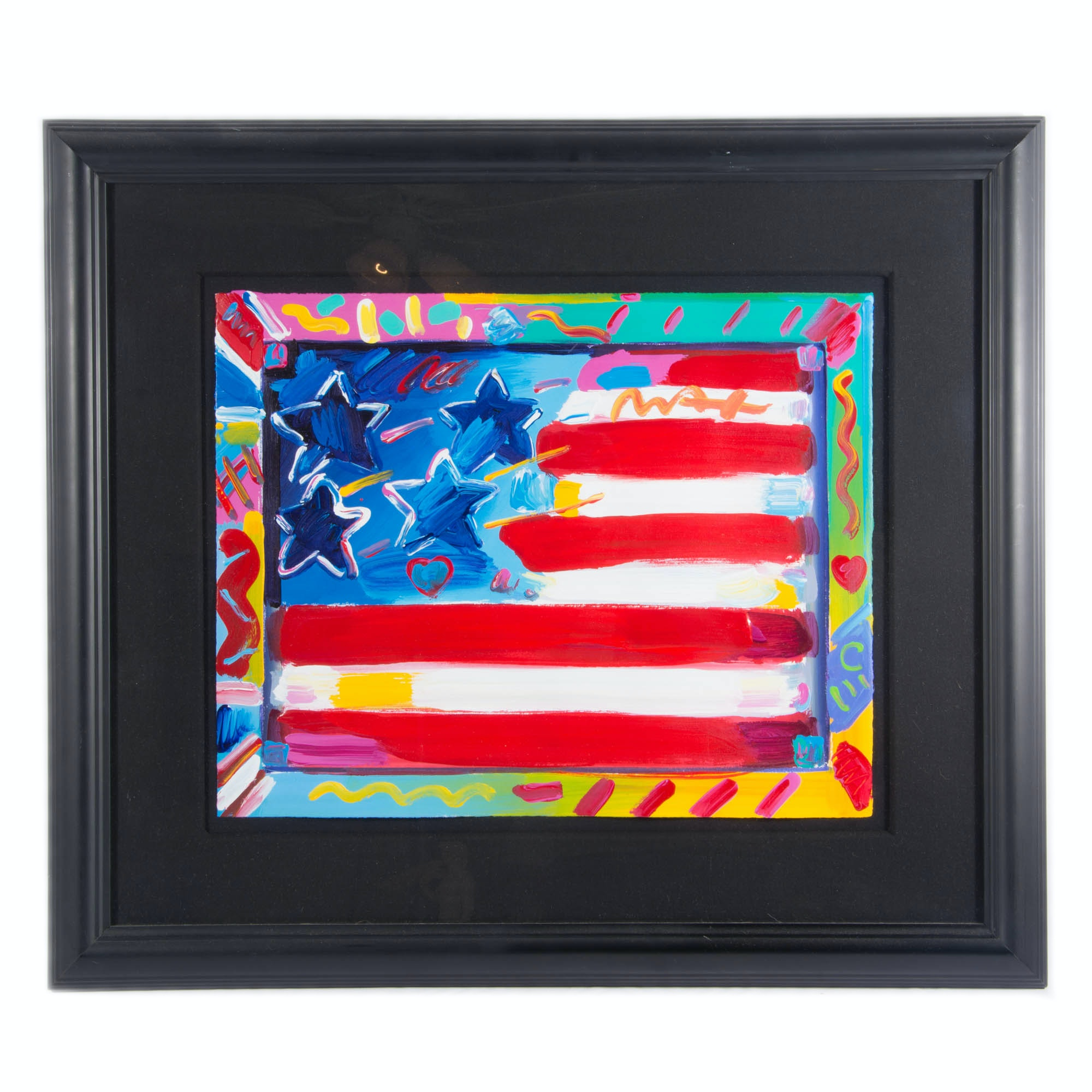 "Peter Max ""Flag with Heart"" Acrylic Painting"