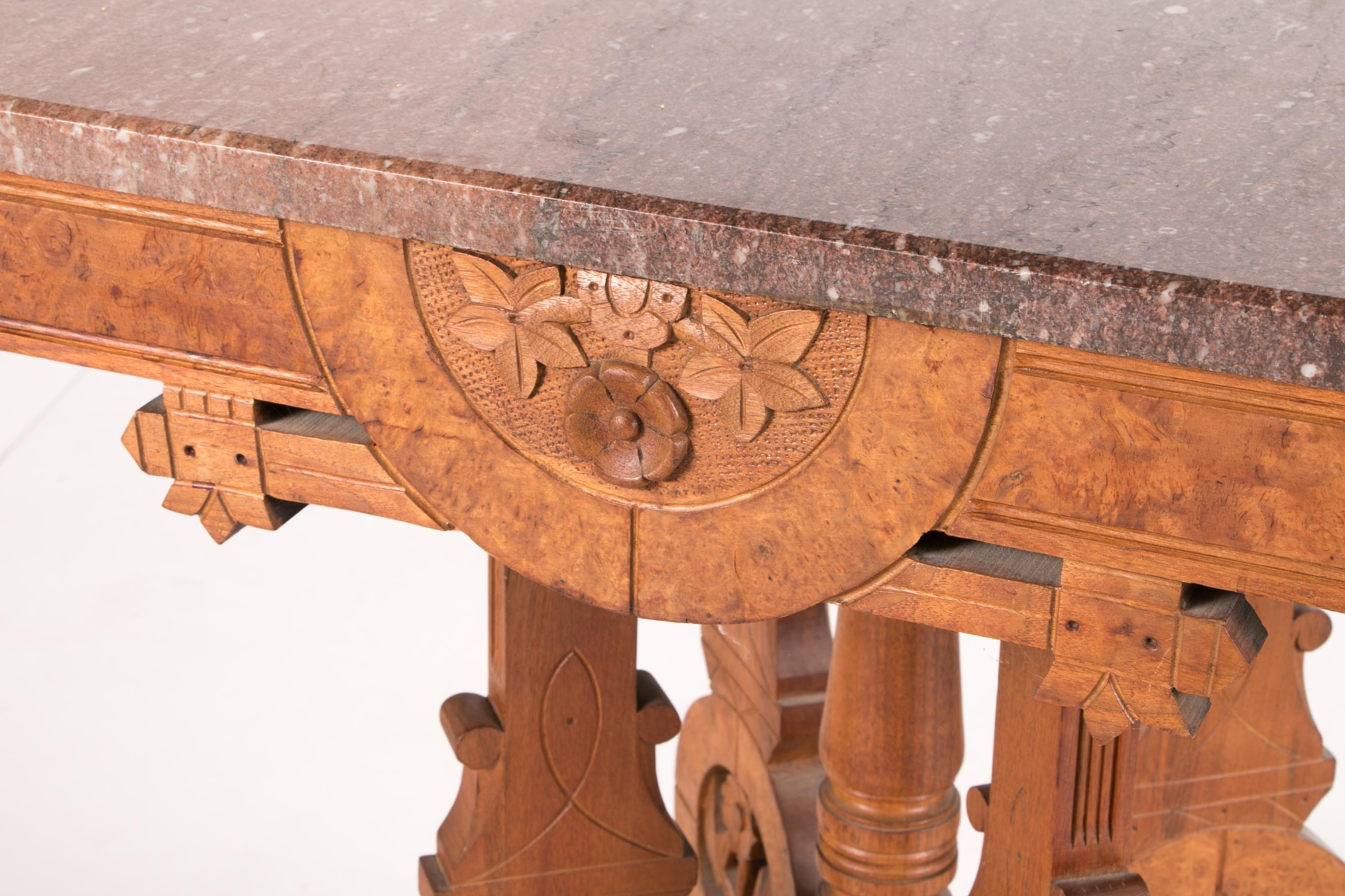 Eastlake Style Hand Carved Marble Top Side Table Ebth