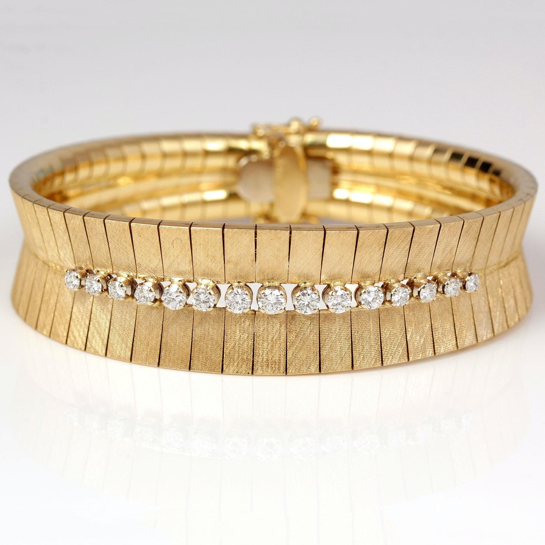 18K Yellow Gold and Diamond Bracelet