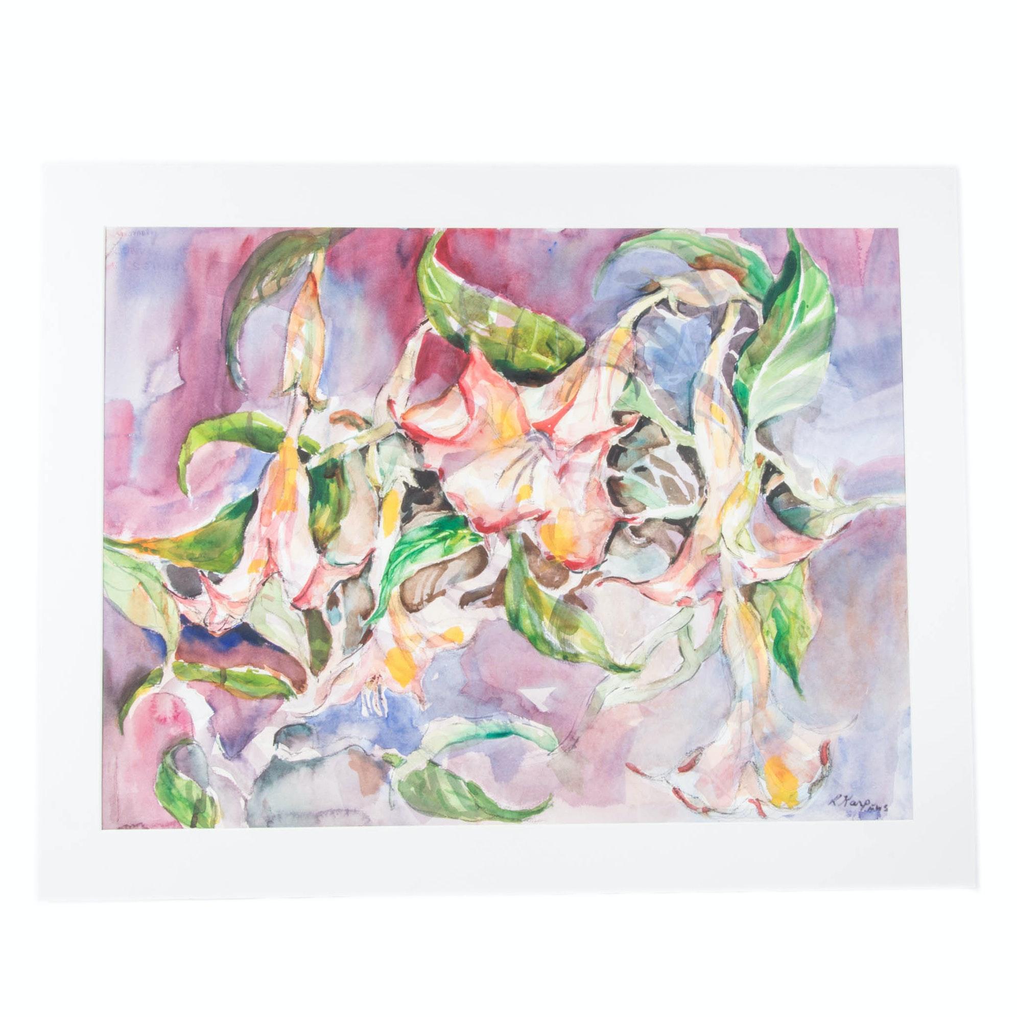 """Ruth Karp """"Garden Bells"""" Original Watercolor"""