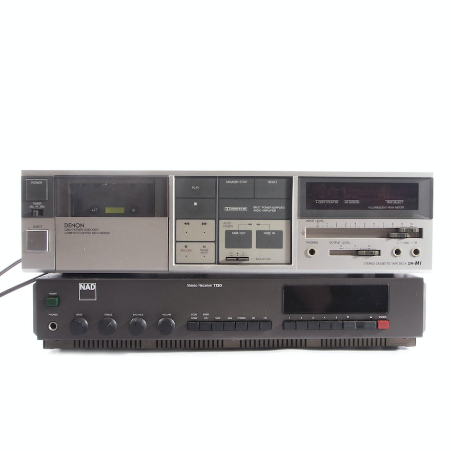 NAD Receiver and Dennon Cassette Tape Deck