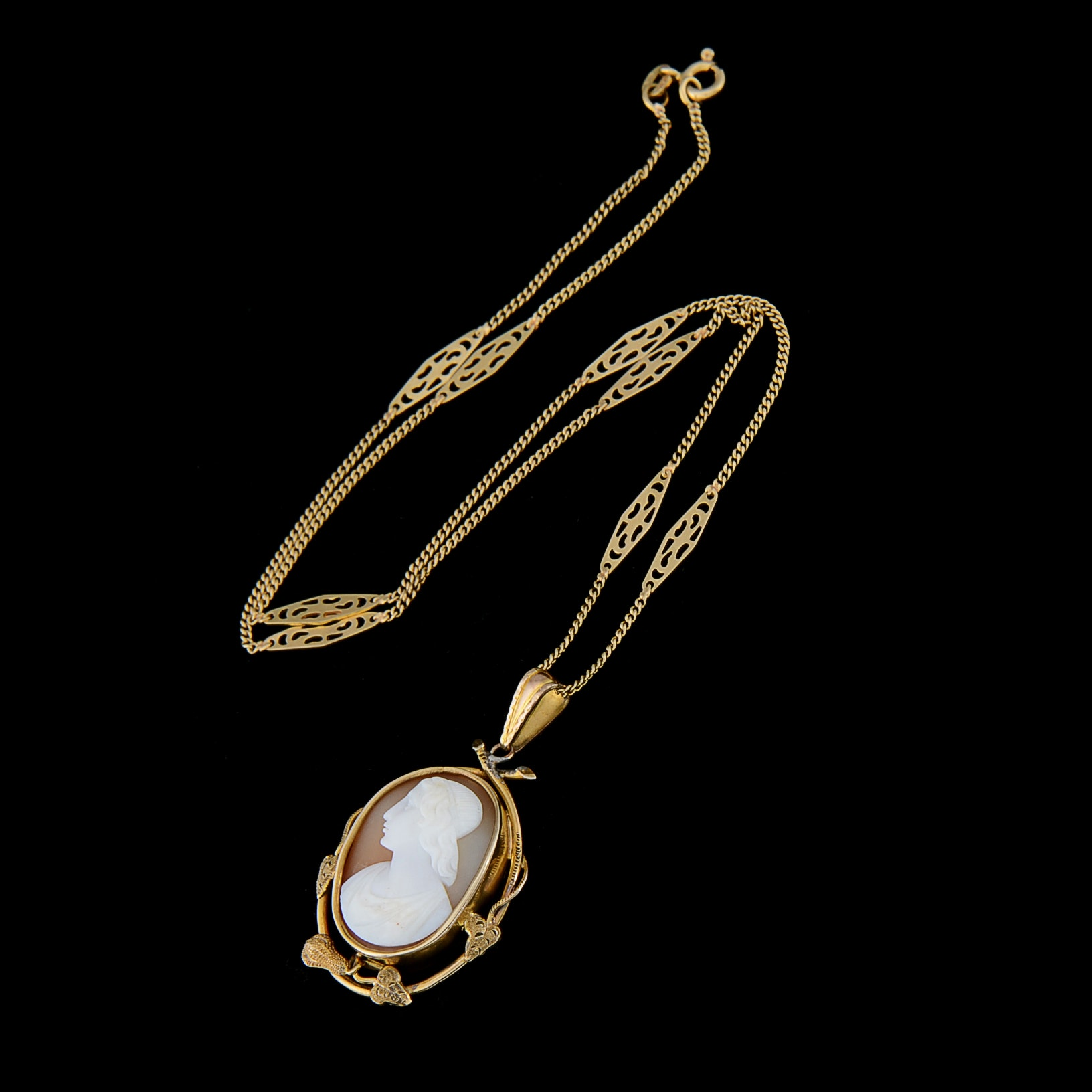18K Yellow Gold Chain and 12K Yellow Gold Cameo Necklace