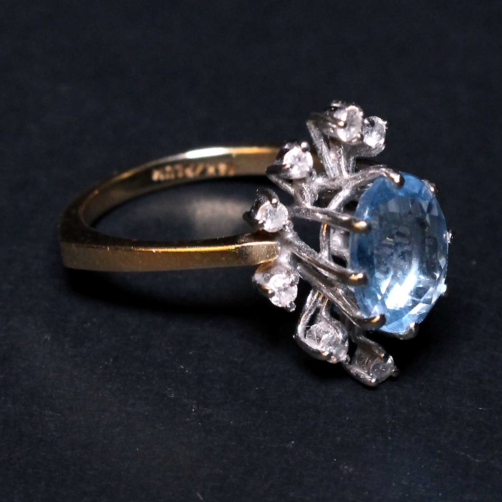 14K Gold Ring with Diamonds and Topaz