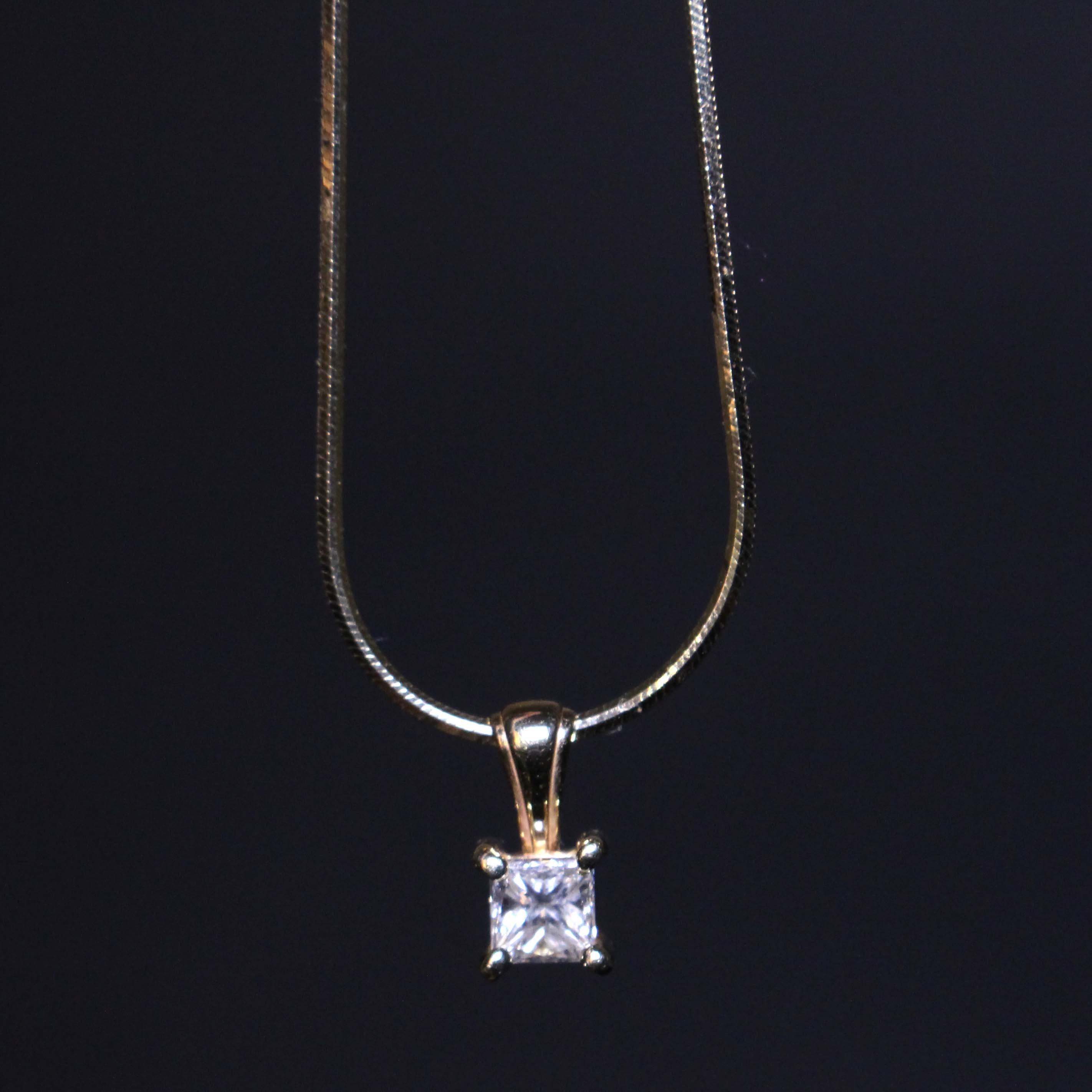 14K Gold Necklace with Diamond Pendant : EBTH