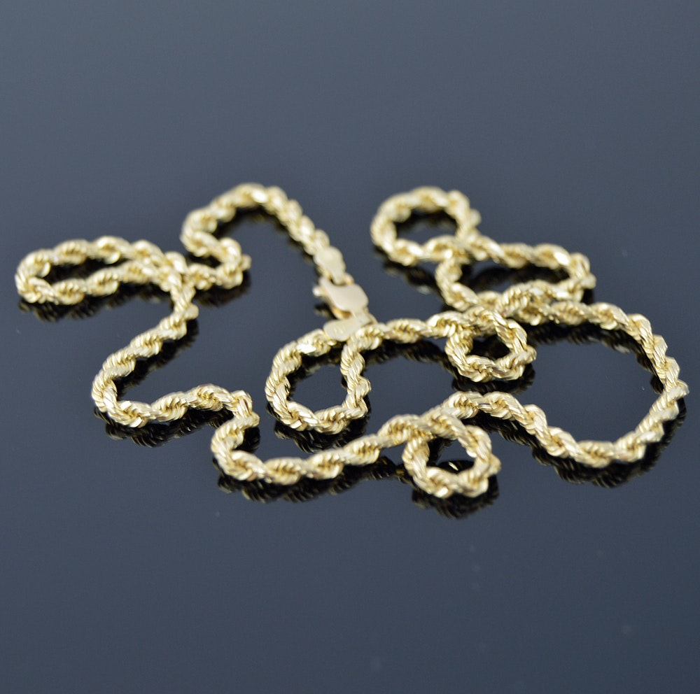 14K Yellow Gold Braided Necklace