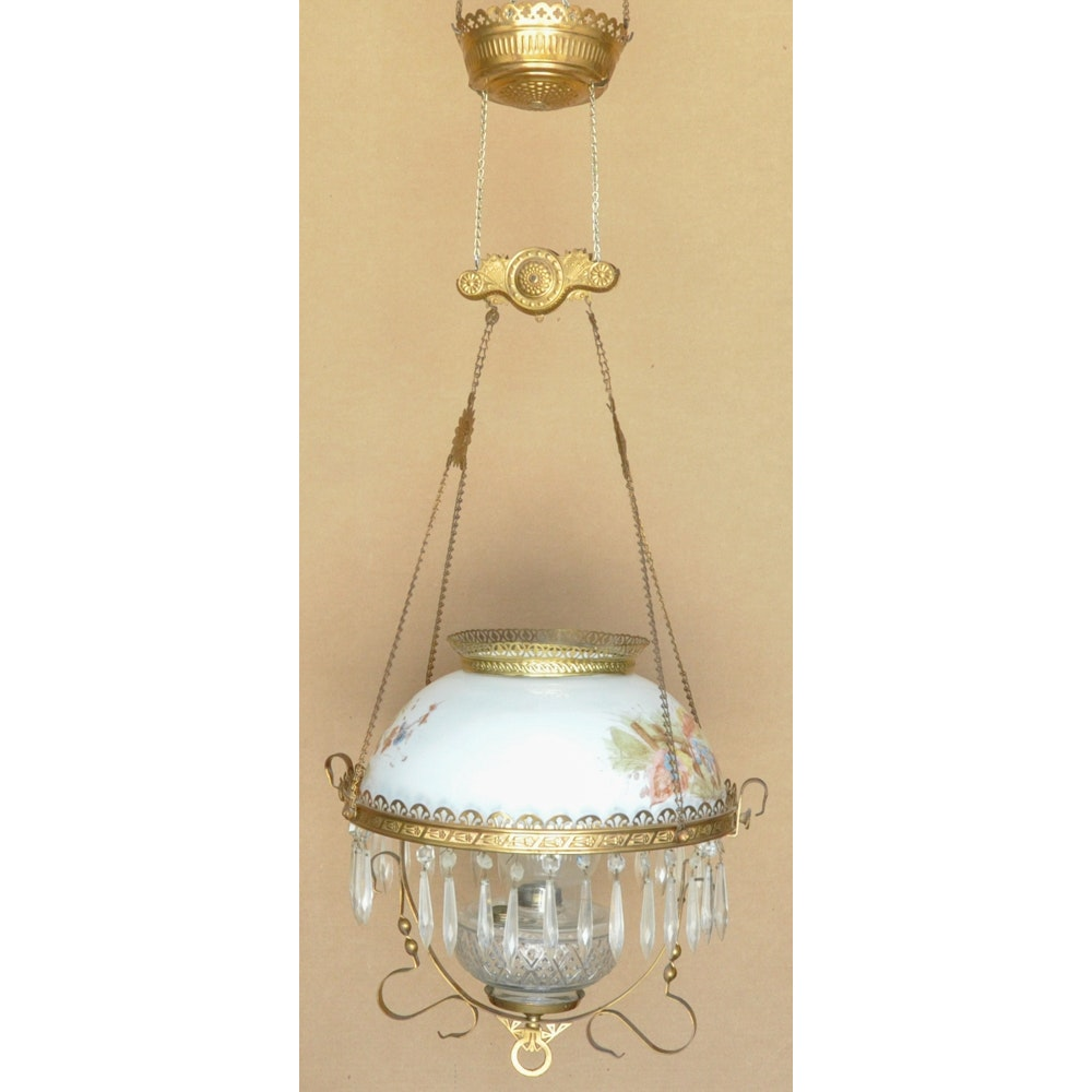 Victorian Style Brass Tone & Cut Glass Chandelier