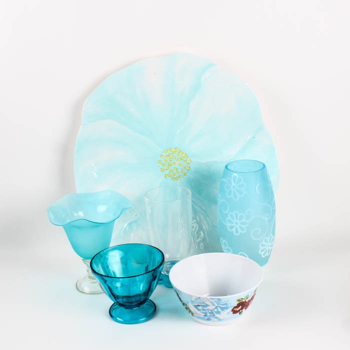 Assortment of Blue and Floral Tableware and Vases