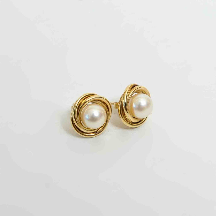 Pair Of Peter Brams Designs 14k Gold And Pearl Earrings