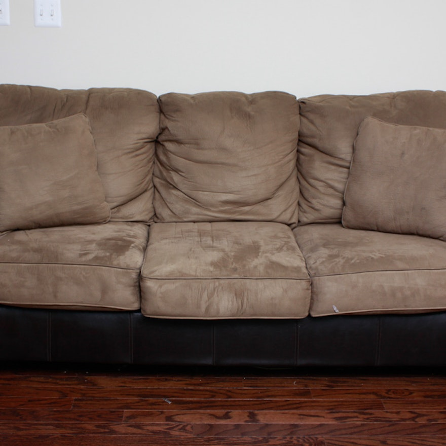 Black Leather Brown Cloth Couch Ebth