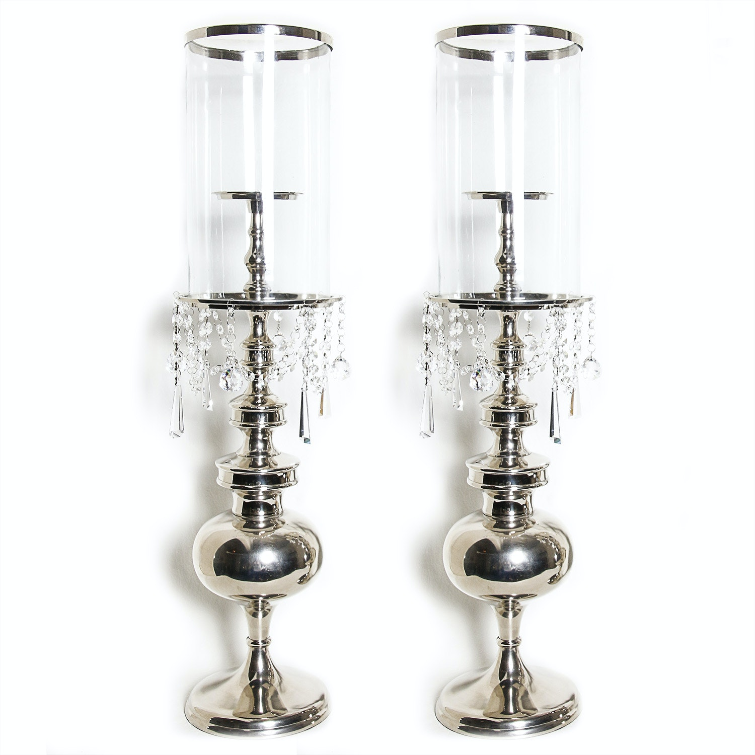 Pair of Solka Glass Hurricanes