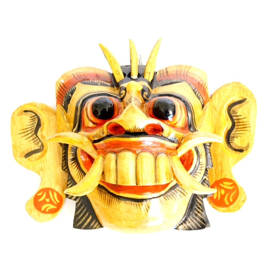 Hand-Carved Indonesian Topeng \