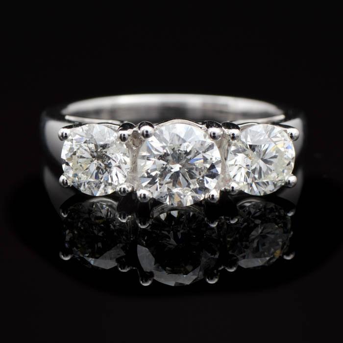 2.00 CTW Diamond and 14K White Gold Three Stone Ring