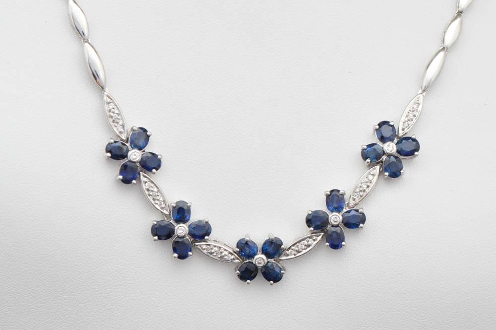 10.00 CTW Sapphire, Diamond and Platinum Necklace
