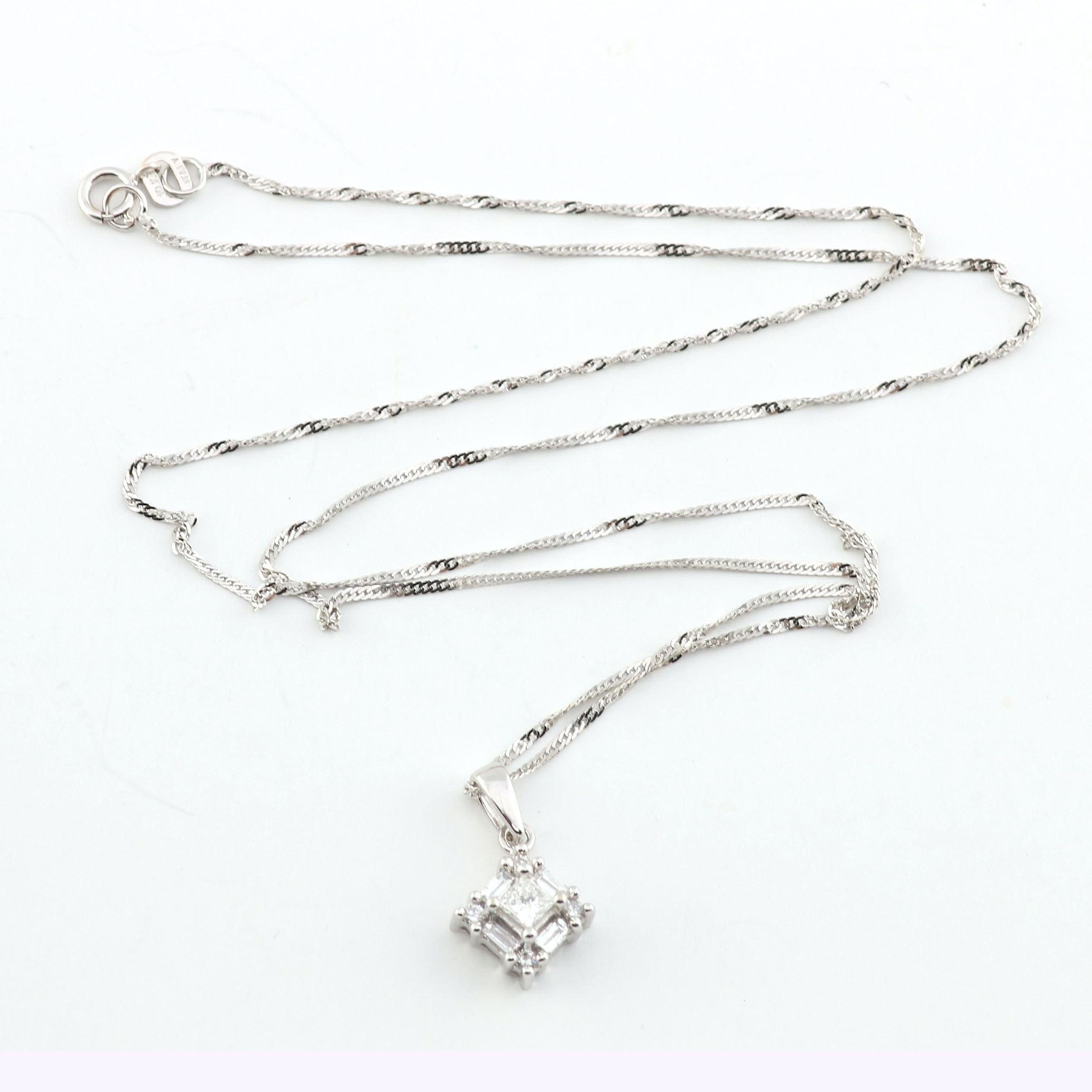 10K White Gold Chain with Diamond Pendant