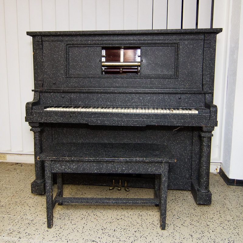 """Antique Chase-Hackley """"Exceltone"""" Player Piano with Bench and Music Roll Collection"""