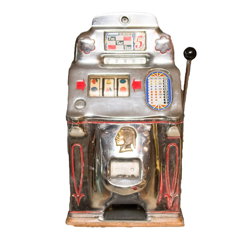 1947 Jennings Chief Tic Tac Toe 5 Cent Slot Machine with Folding Stand